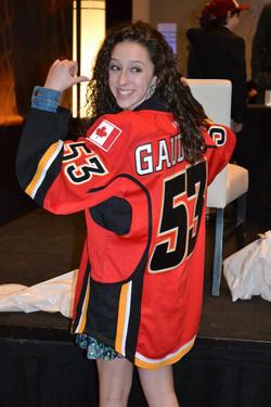 John's sister Katie wearing Flames