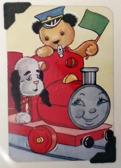 Sooty & Sweep Train Greetings Card