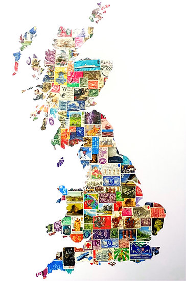 UK Map Hand Cut from Vintage Stamps