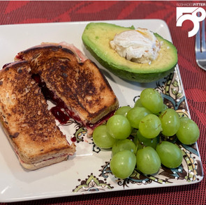 Vegan Mozzarella Cheese &        Sugar-free Blueberry Jam on Keto Bread