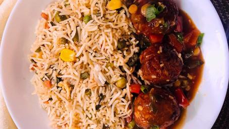 Fried rice with restaurant style Veg Manchurian