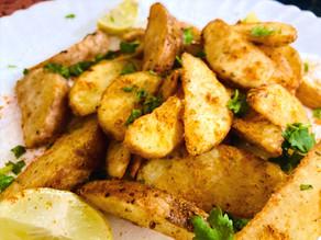 Baked garlic potato wedges seasoned with peri peri!