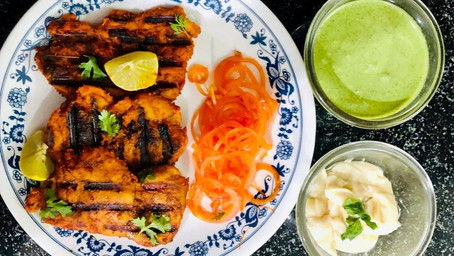 The BEST grilled chicken marinade recipe with pickled onions and homemade mint sauce ~