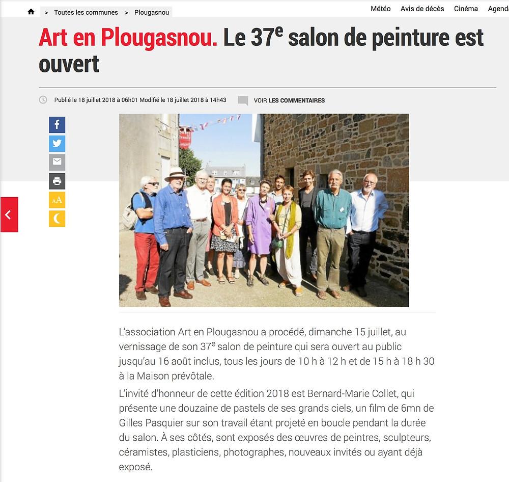 Salle comble pour ces artistes peintres, scultpteurs, céramistes et photographes qui exposent à Plougasnou tout l'été. Les travaux sont nombreux et les artistes toujours très heureux de rencontrer le publicau cours du vernissage. Une expositon à voir, et revoir sans modération!