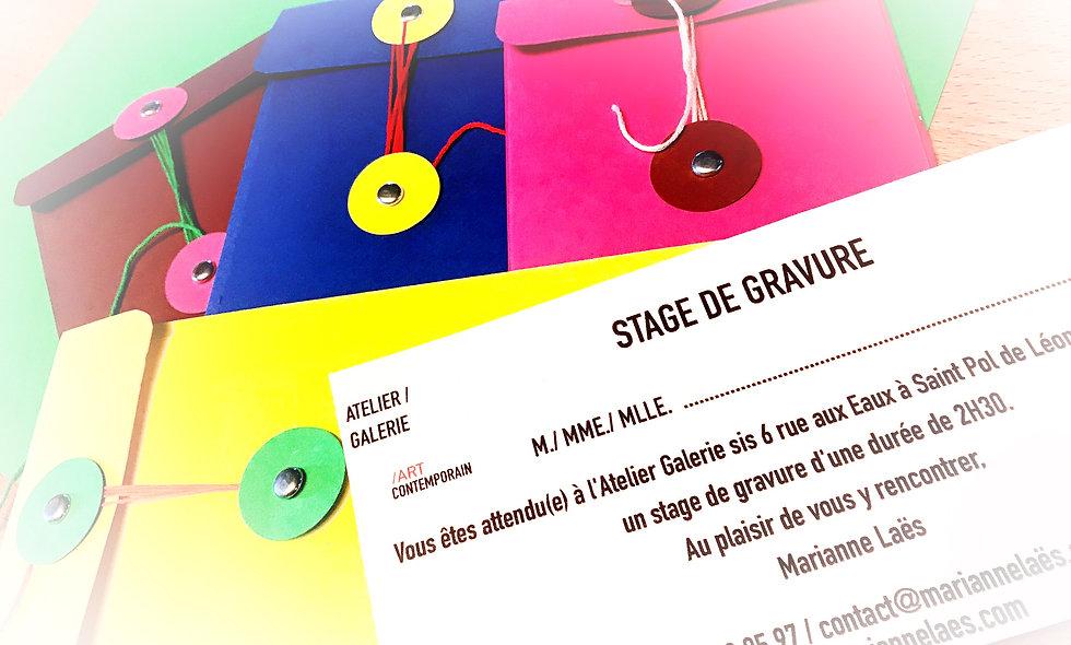"""Carte Cadeau """"Stage Gravure"""" ADULTE"""