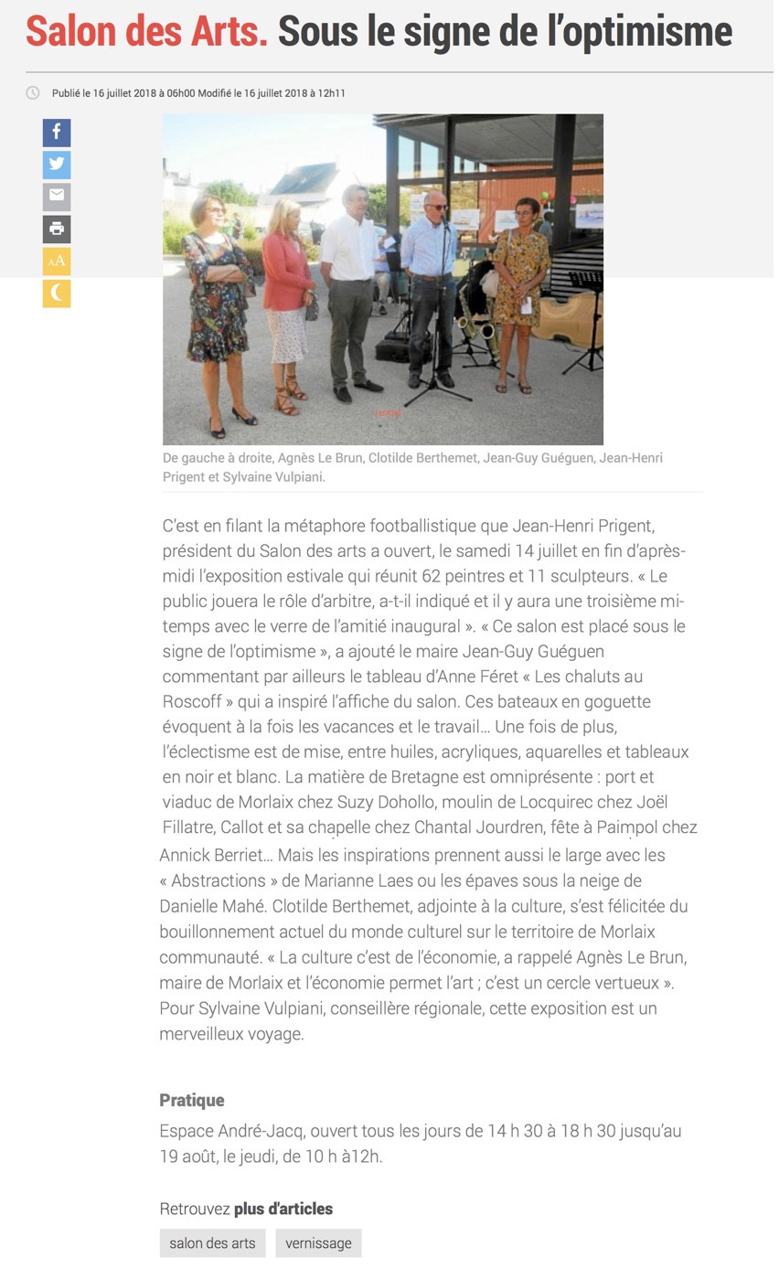 Si vous passez par Carantec, Arrêtez-vous au Salon des Arts, espace Jacq, et venez découvrir les oeuvres de 73 artistes. L'association propose également une programmation d'animation conjointement avec les exposants. renseignements auprès de l'Office du Tourisme de Carantec.