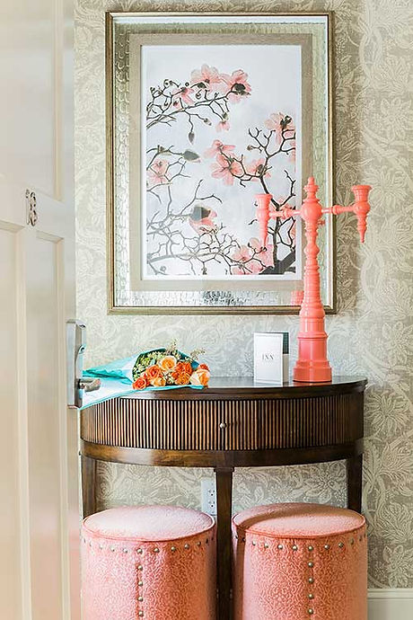 Entryway at Inn at Hastings Park bedroom designed by Robin Gannon Interiors