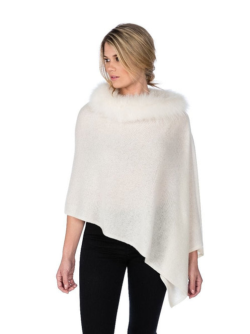 Alashan Cashmere Windchill Fox Trim Topper (Snow)
