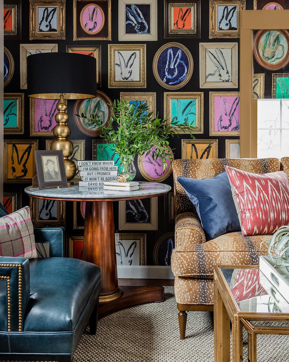 Robin Gannon Interiors Hunt Slonem wallpaper deer skin fabric
