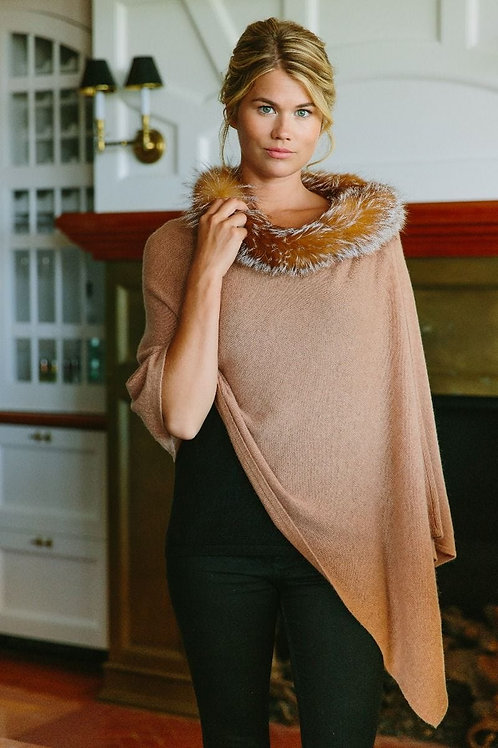 Alashan Cashmere Windchill Fox Trim Topper (Camel)
