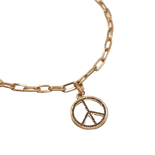 "Marlyn Schiff 18"" Gold Peace Sign Charm Necklace"
