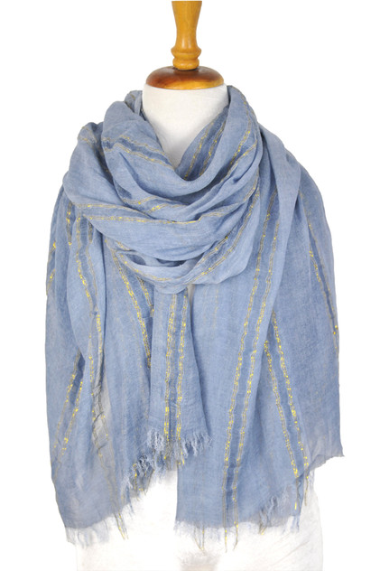 Paisley Road blue scarf with stripes