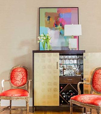 Bar cabinet area designed by Robin Gannon Interiors