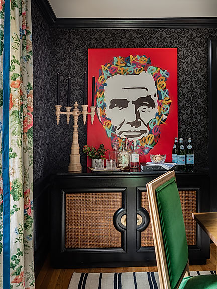 Eclectic sidebar bar cabinet in dining r