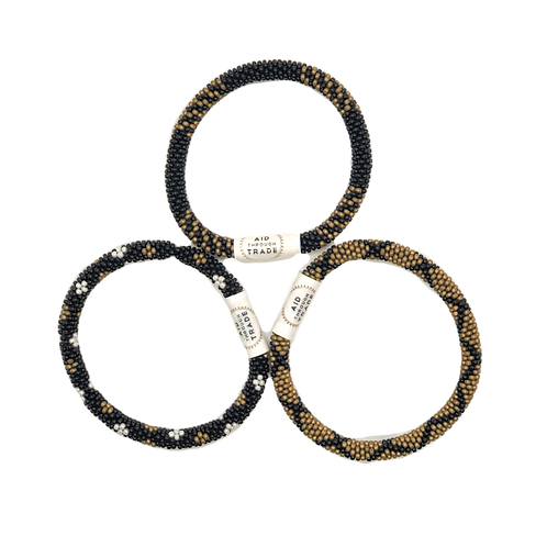 Aid Through Trade Roll On Bracelet Set (Black and Gold)