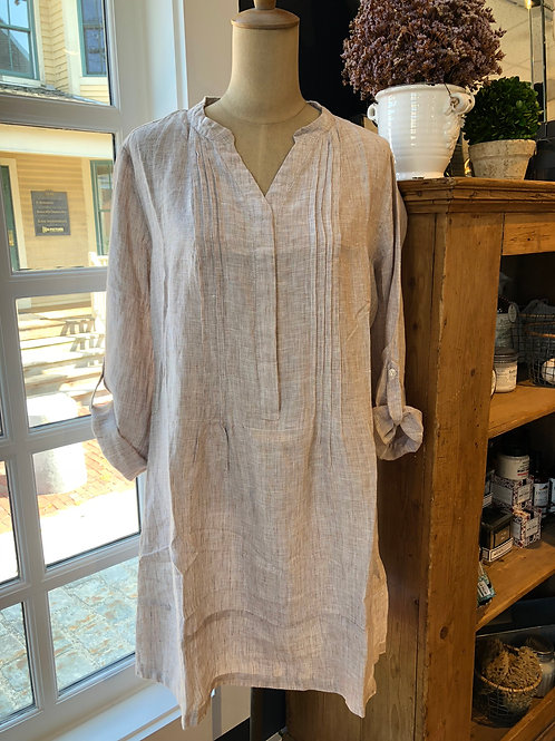 French Curve Tan Pleated Linen Dress