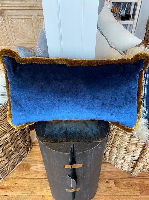 Blue velvet pillow