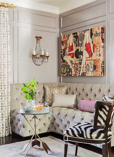 Tufted banquette seating area designed by Robin Gannon Interiors