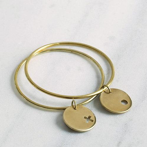 """Mulxiply """"XO"""" Brass Bangle set (small/medium - two bracelets)"""