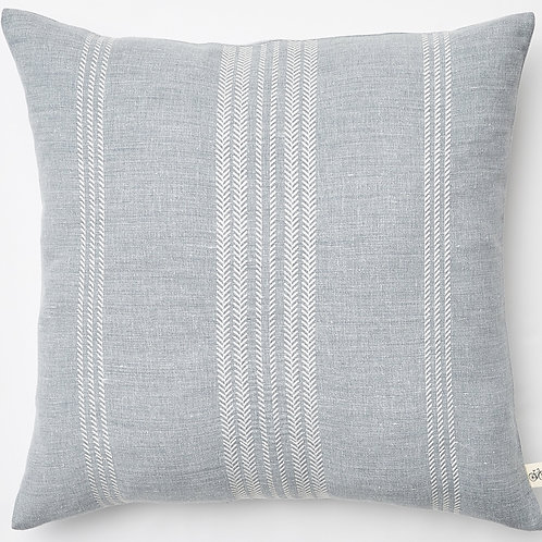 County Road embroidered herringbone linen pillow