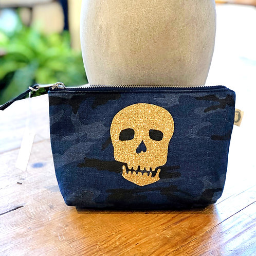 Quilted Koala Blue Camo Makeup Pouch with Gold Skull