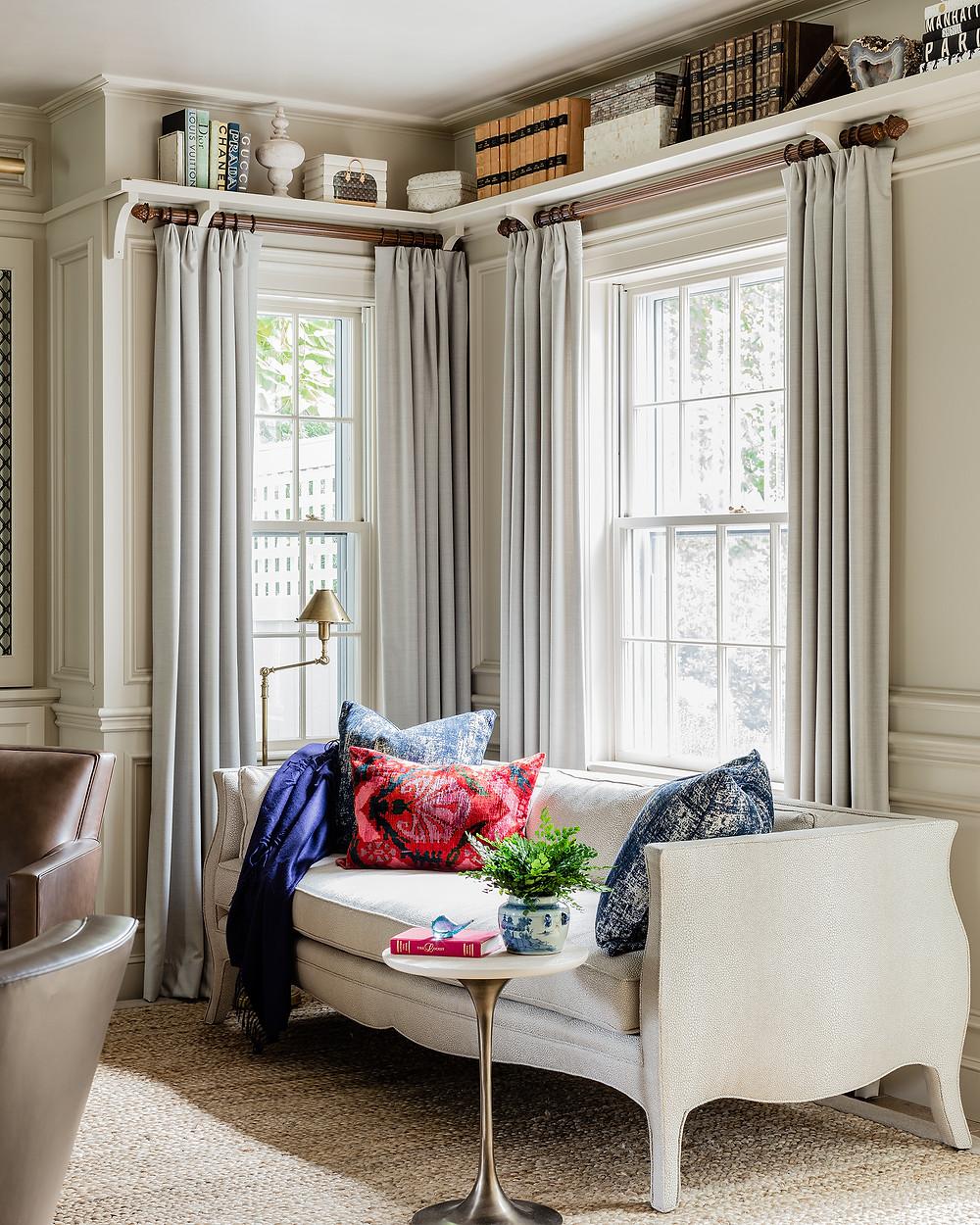 library, chandelier, classy, elegant, chic, design, interior design, robin gannon interiors