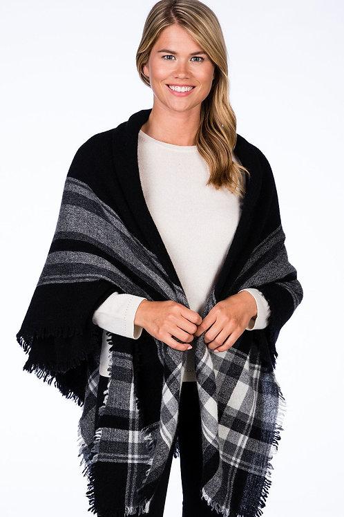 Alashan Cashmere Parisian Woven Blanket Scarf (Black)