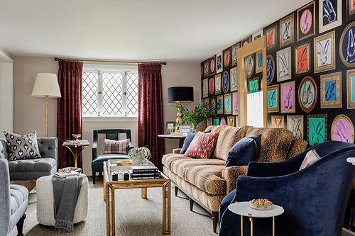 Bold living room with Hunt Slonem bunny wallpaper designed by Robin Gannon Interiors