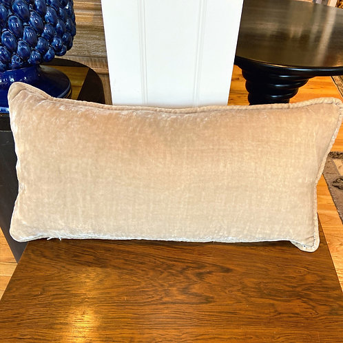 Square Feathers taupe velvet pillow