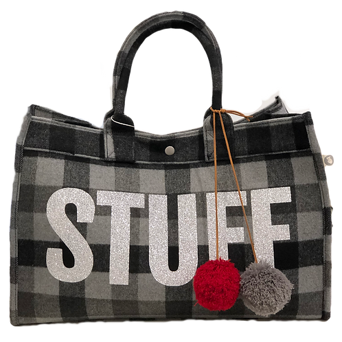 "Quilted Koala Grey Flannel ""Stuff"" East West Tote"