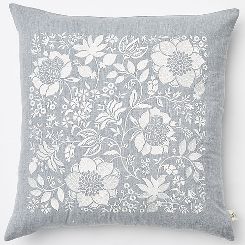 "County Road ""Cape Cod"" light blue floral embroidered linen pillow"