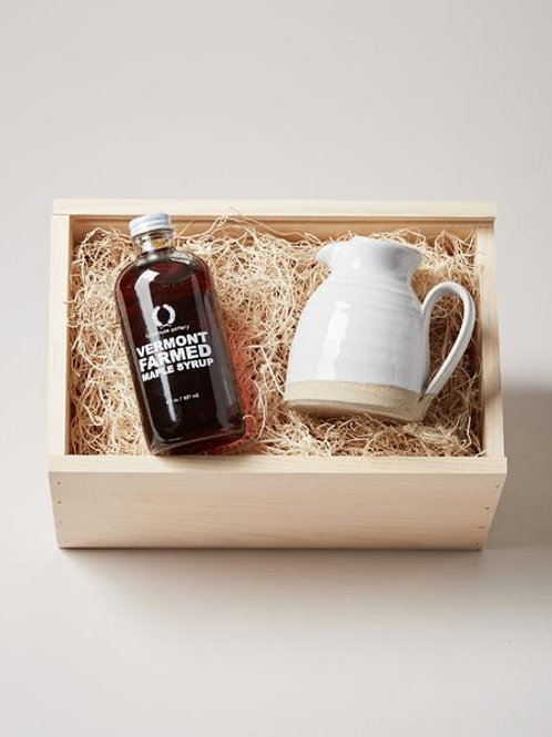 Farmhouse Pottery Maple Syrup and Bell Pitcher Gift Set