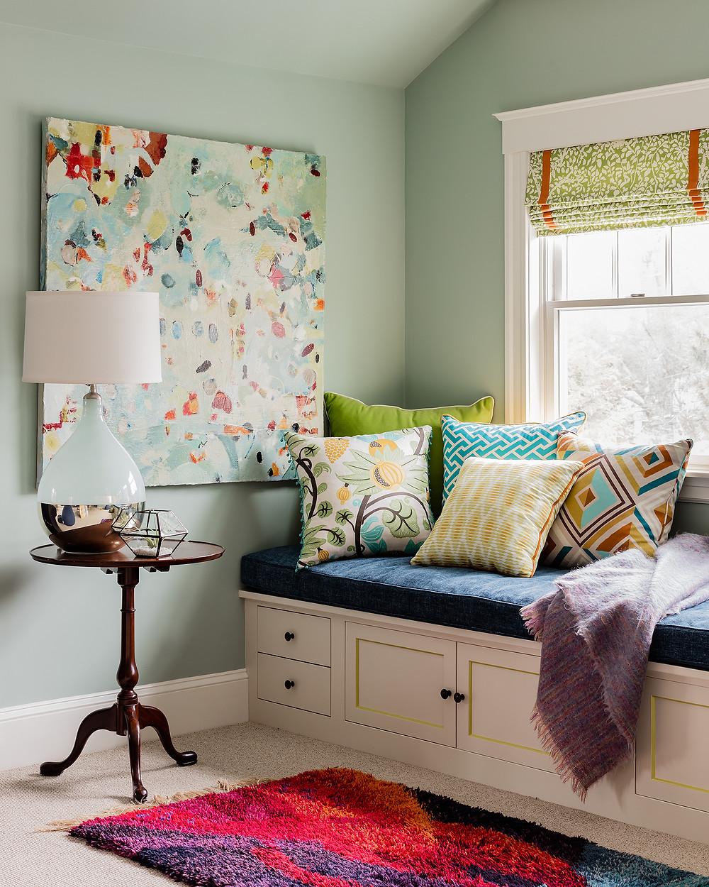 Robin Gannon Interiors sea foam blue paint window bench contemporary painting