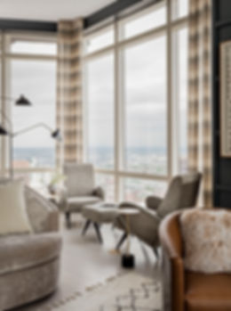 Boston modern penthouse living room designed by Robin Ganno
