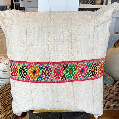 Jamie Lauren Designs cream pillow with Peruvian ribbon