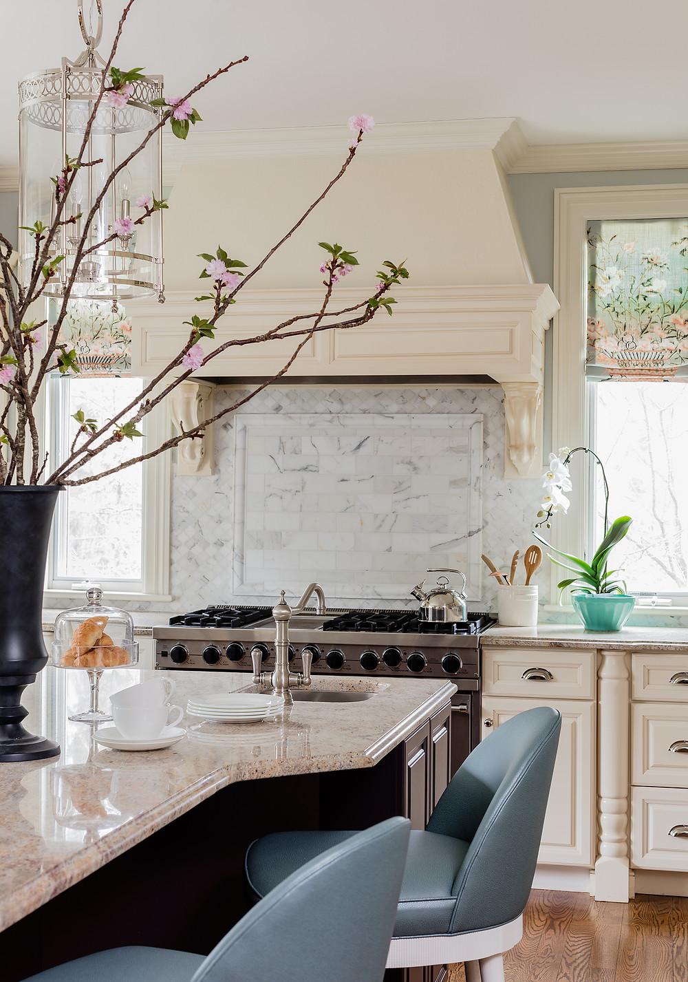 Robin Gannon Interiors, Carara Marble, Cabinets, Kitchen, Renovation