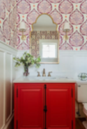 Bold bathroom powder room designed by Robin Gannon Interiors