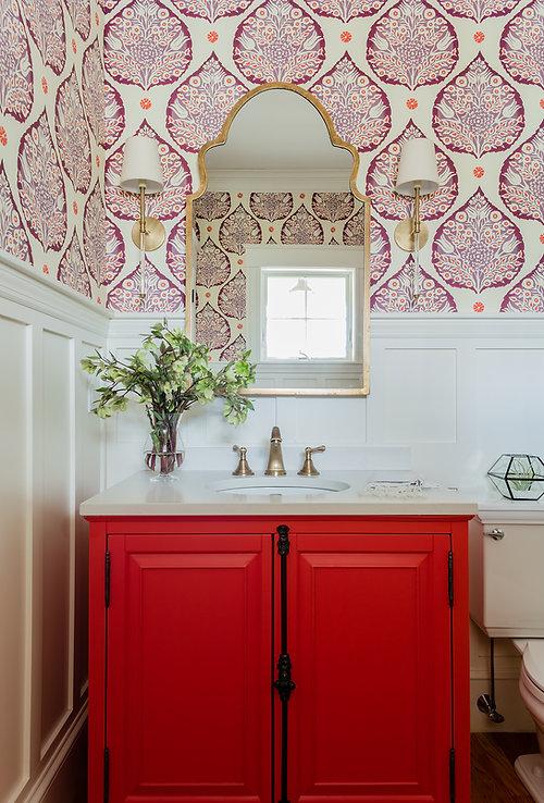 Bold bathroom powder room designed by Robin Gannon Interiors