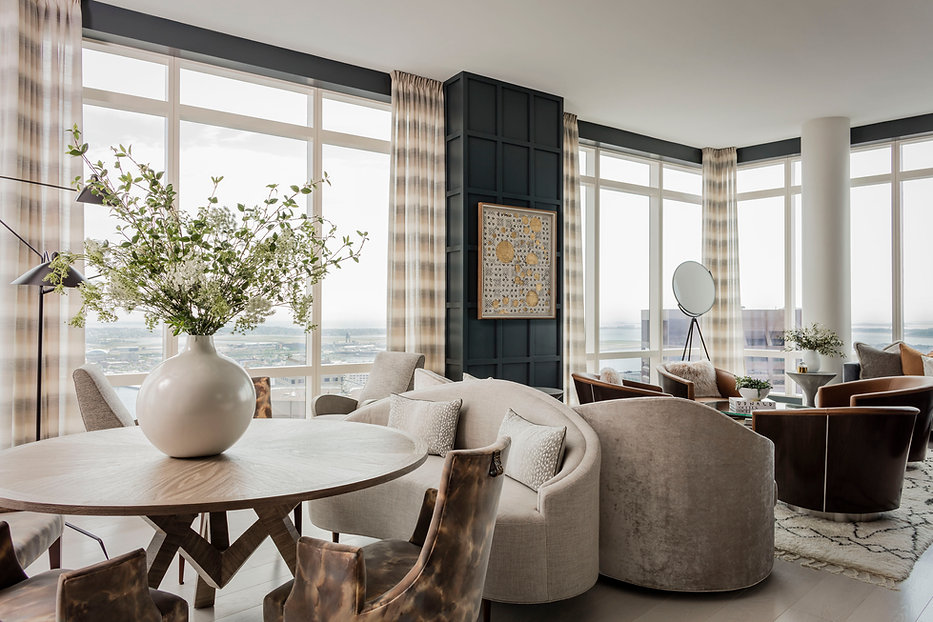 Boston Modern Penthouse living room designed by Robin Gannon Interiors