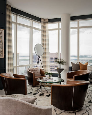 Boston penthouse living room designed by