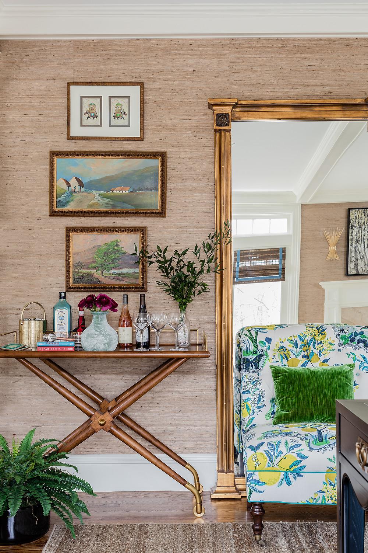 Robin Gannon Interiors, Gold Frames, Colorful Chair, Grasscloth Wallpaper, Bar Cart