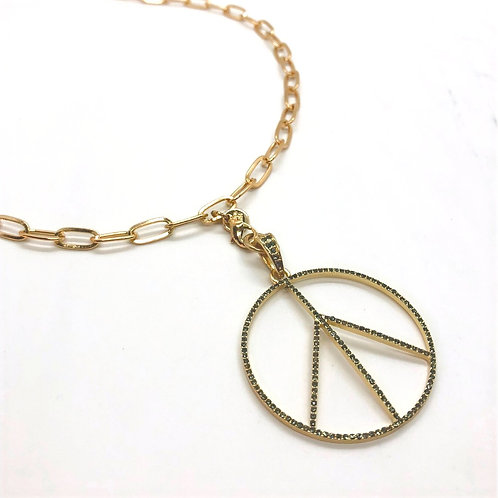 """Marlyn Schiff 36"""" Gold Charm Necklace with Peace Sign"""