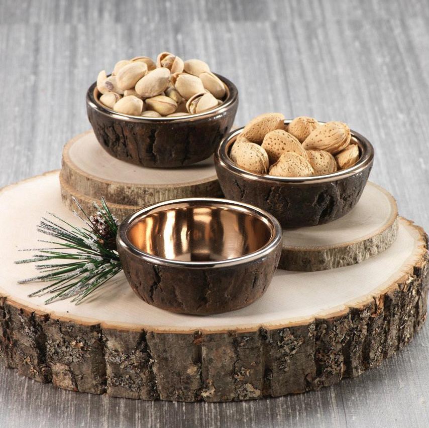 Rose Gold and Wood Condiment Bowls