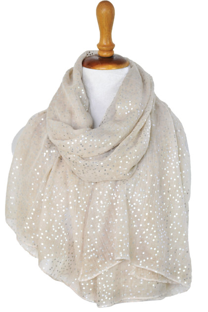 Paisley Road taupe scarf with dots