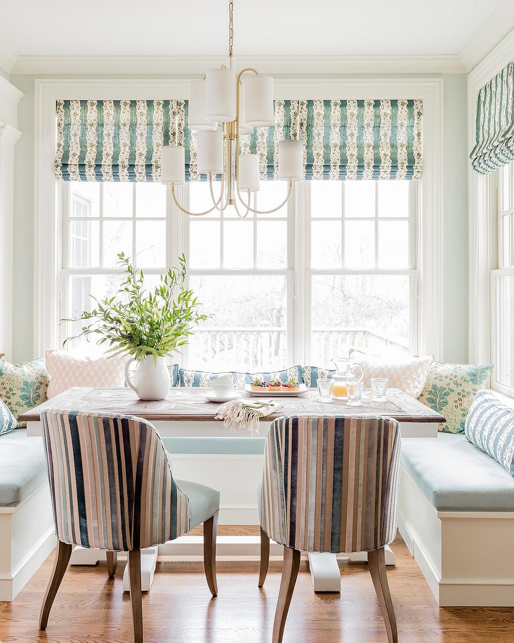 Robin Gannon Interiors, Farmhouse Dining, Built Ins, Modern Light, Fresh Plants