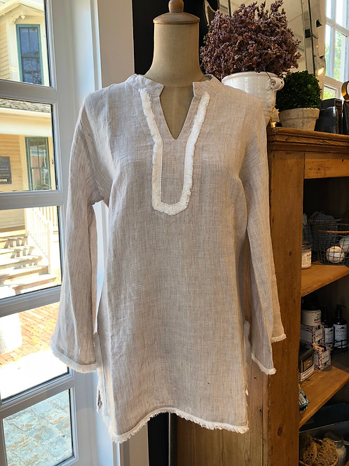 French Curve Tan Linen Tunic with Fringe