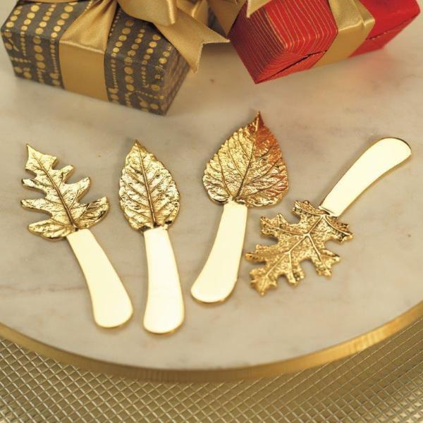 Zodax Gold Leaf Cheese Spreader Set