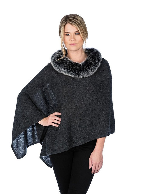 Alashan Cashmere Windchill Fox Trim Topper (Charcoal)