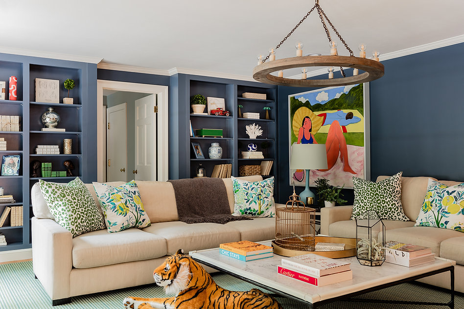 Bright eclectic family living room desig