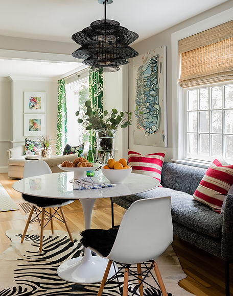 Kitchen table with banquette designed by